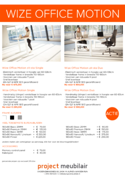 Actie Wize Office Motion Single en Duo zit-sta bureau