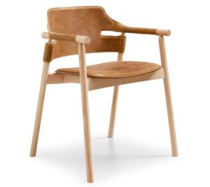 Midj Suite P 2019 Chair Armchair Stoel 4poot Leer Leather Wood Projectmeubilair