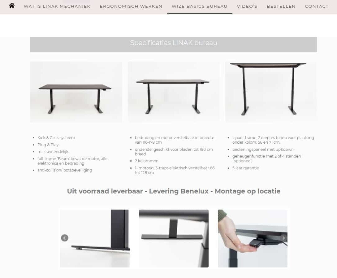 Wize Basics Website Thuiswerken Linak Mechaniek Projectmeubilair 1